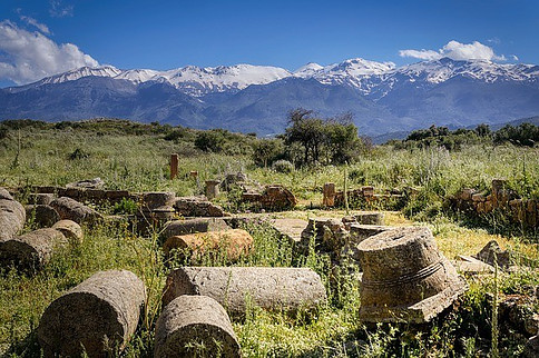 walking and hiking safety tips, image shows aptera in Crete and mountains in the distance